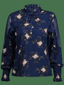 De Blusa Volantes Azul Floral Con Encaje Xl Profundo 5qwFA1