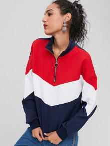 Front Color Sweatshirt Block ZAFUL M Multicolor Zip 4vOwxq