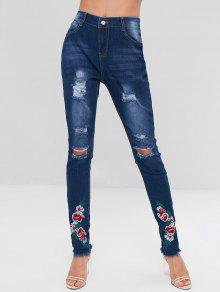 جينز مزين بالزهور مطرزة بالخرز - الدينيم الأزرق الداكن S