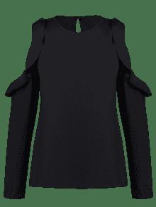 Blusa L Negro Fr De De Volantes 237;os Hombros HqHP6