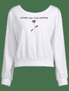 Sudadera Blanco Rosas S Con Estampado De FF4wqpvBn