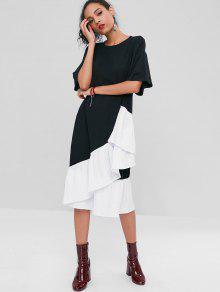 Negro Plisado Asim S 233;trico Casual Tonos Vestido Dos De xvF0Oaaqw