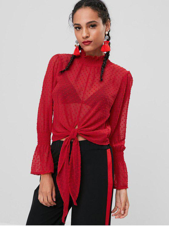 affordable Flare Sleeves Smocked Textured Blouse - RED L