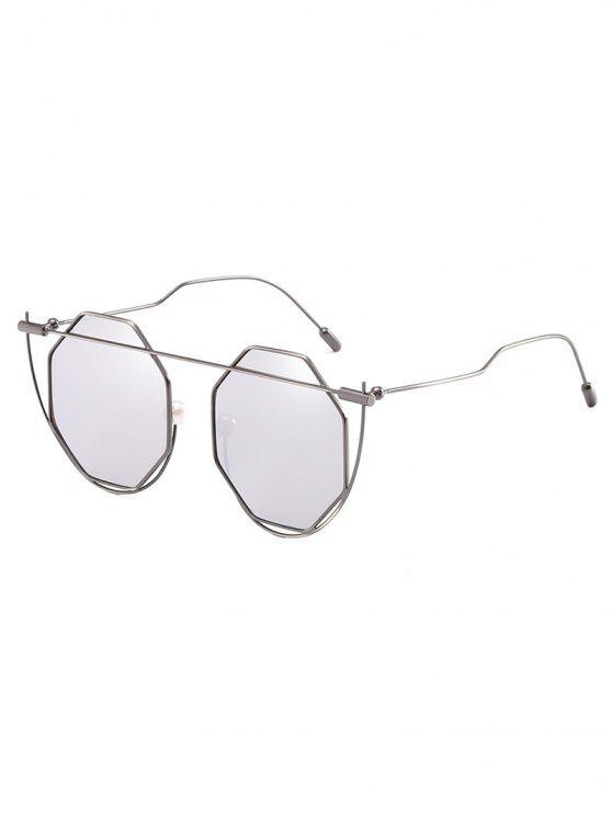 women Irregular Frame Rhombus Lens Novelty Sunglasses - PLATINUM