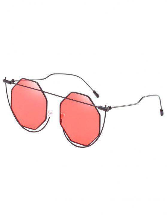 Lentes de sol de novedad de lente rombo de marco irregular - Castaño Rojo