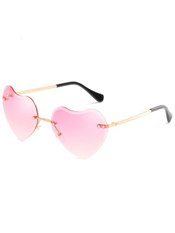 hot Novelty Heart Shape Lens Rimless Sunglasses - PIG PINK
