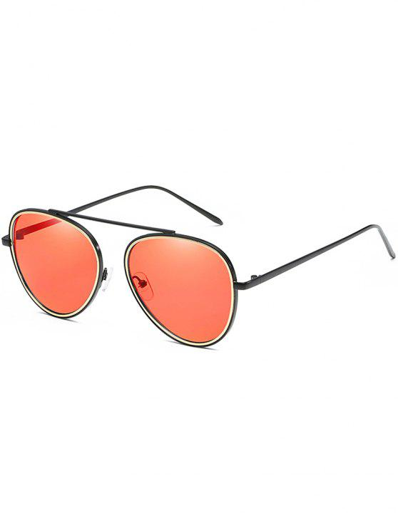 outfit Anti Fatigue Top Bar Pilot Sunglasses - CHESTNUT RED