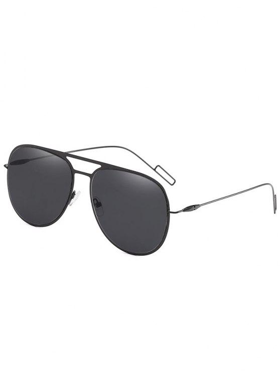 trendy Anti Fatigue Hollow Out Alloy Frame Sunglasses - BLACK