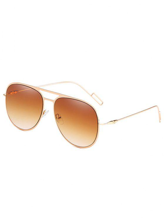 fashion Anti Fatigue Hollow Out Alloy Frame Sunglasses - LIGHT BROWN