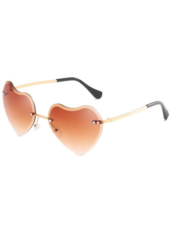 womens Novelty Heart Shape Lens Rimless Sunglasses - LIGHT BROWN