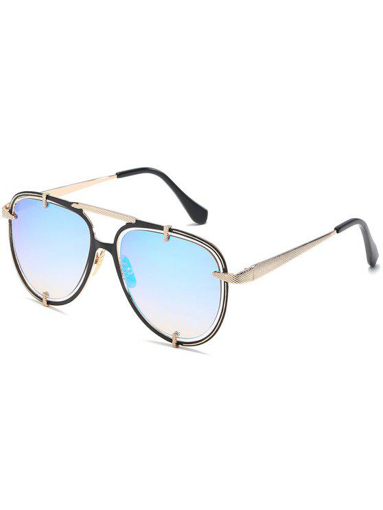 online Hollow Out Frame Crossbar Pilot Sunglasses - LIGHT SKY BLUE