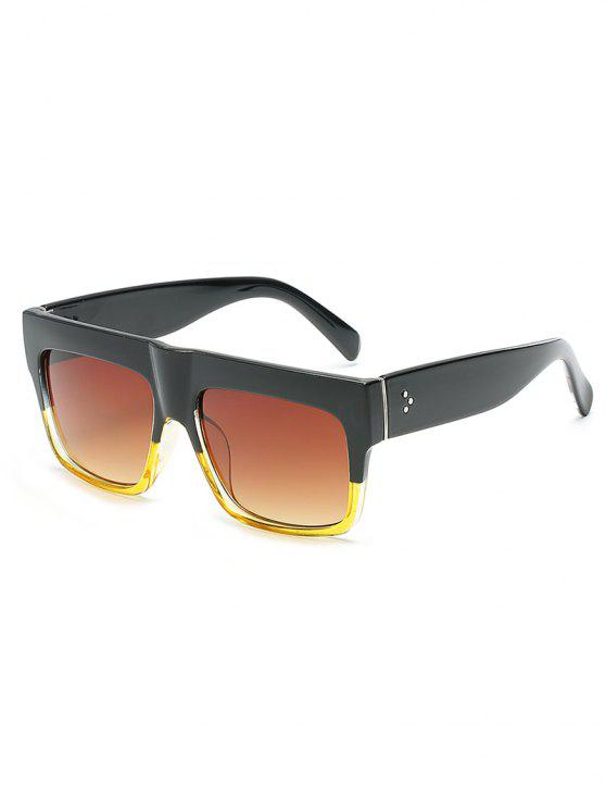 fancy Novelty One Piece Wide Frame Sunglasses - GOLDENROD