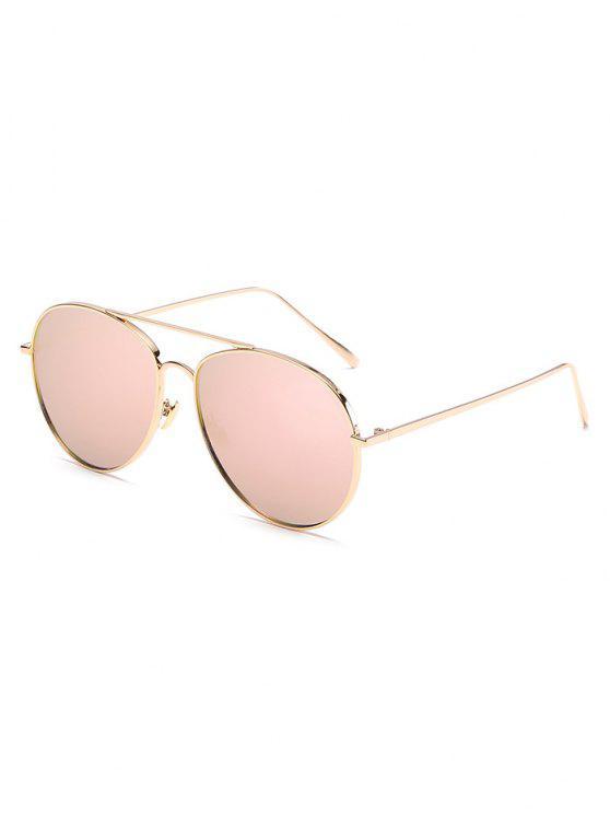 Gafas de sol de lente plana de marco de metal vintage - Cerdo Rosa