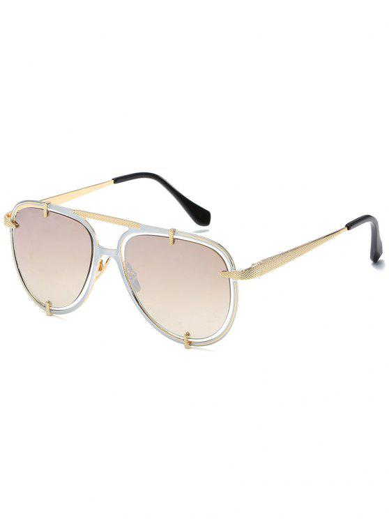 lady Hollow Out Frame Crossbar Pilot Sunglasses - PLATINUM