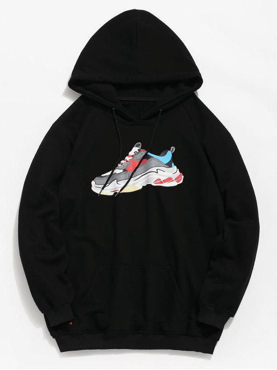 fashion Letter Sneaker Print Pocket Hoodie - BLACK 2XL