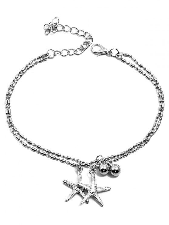 fancy Starfishes Shaped Pendant Layered Beach Anklet Chain - SILVER