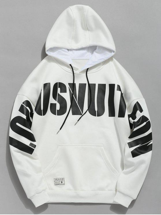 outfits Drawstring Letter Print Hoodie - WHITE S