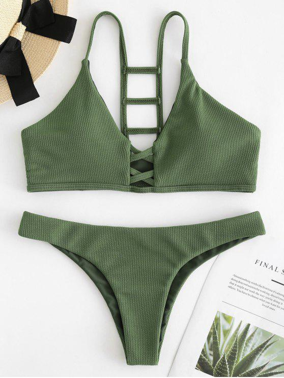 Conjunto de bikini acanalado recortado en escalera - Verde del ejército S