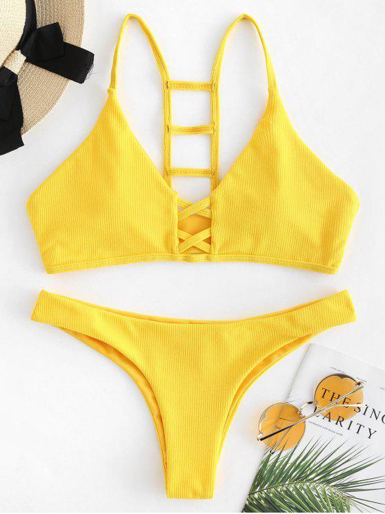 women Ladder Cutout Ribbed Bikini Set - RUBBER DUCKY YELLOW L