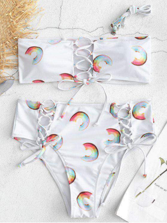 Bikini Donut Imprimé à Taille Haute à Lacets - Blanc L