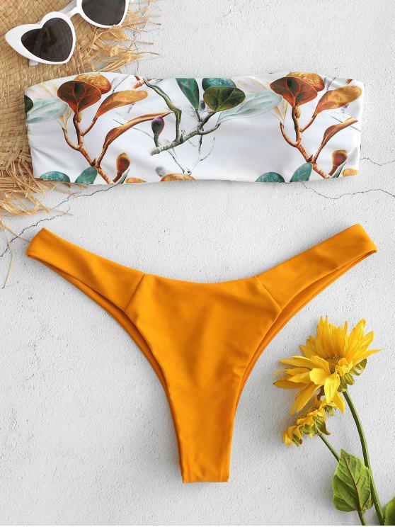 women's Branch Print Bandeau Bikini Set - BRIGHT YELLOW S
