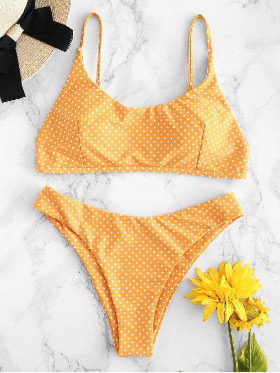 fashion High Leg Polka Dot Bikini - BRIGHT YELLOW S