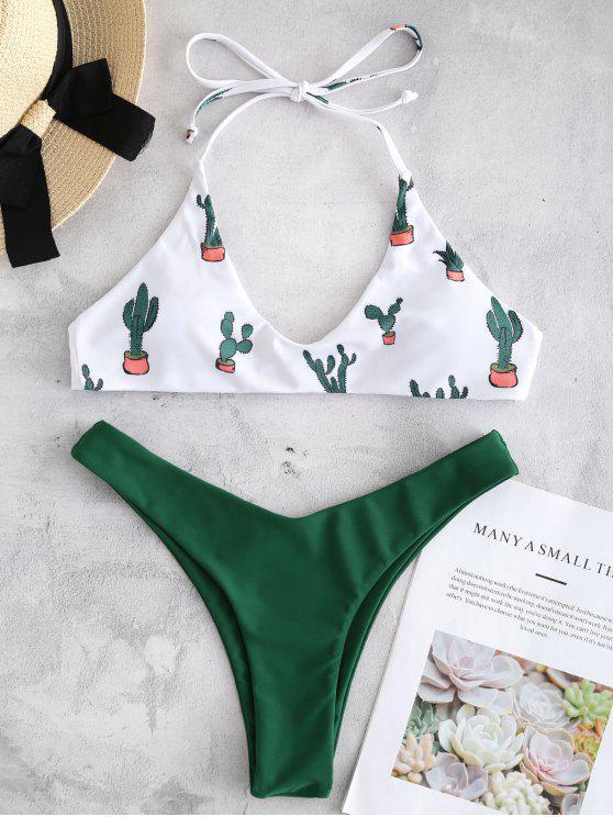 hot Cactus Pattern High Cut Bikini Set - WHITE M