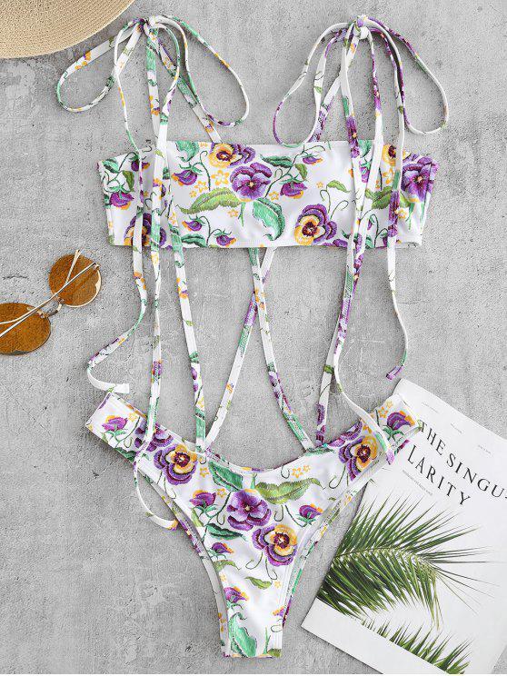 زهرة Strappy قطعة واحدة ملابس السباحة - أبيض M