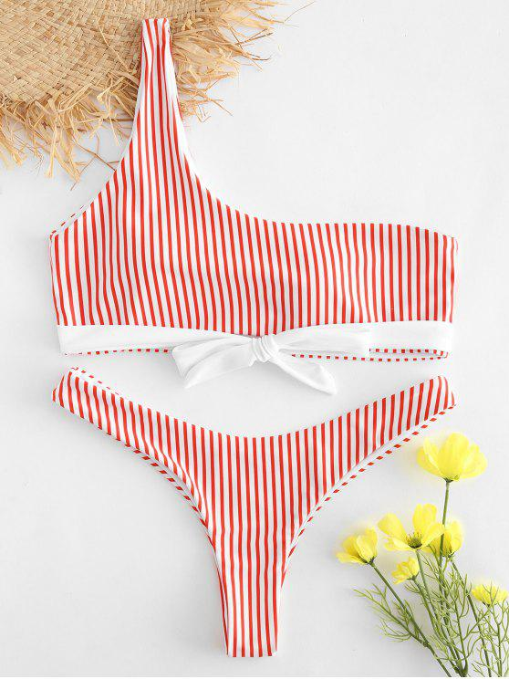 hot Striped One Shoulder Bowknot Bikini Set - RED M