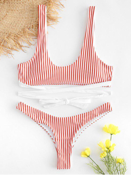 Bikini Acolchado de Pierna Alta a Rayas - Rojo M