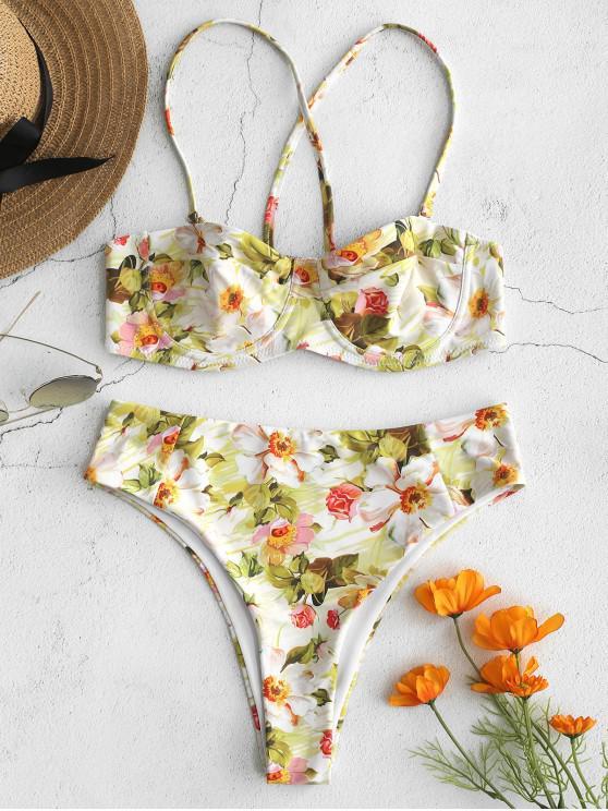 Conjunto de Biquíni Floral Underwire Balconette - Multi L