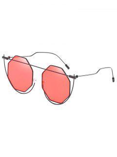 Irregular Frame Rhombus Lens Novelty Sunglasses - Chestnut Red