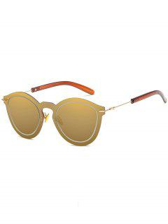 Novelty Rimless One Piece Sunglasses - Champagne Gold