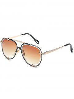 Hollow Out Frame Crossbar Pilot Sunglasses - Tan