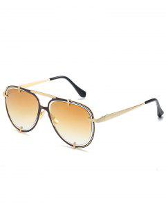 Hollow Out Frame Crossbar Pilot Sunglasses - Champagne Gold