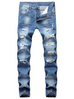 Moul Style Ripped Straight Jeans - Windows Blue 34