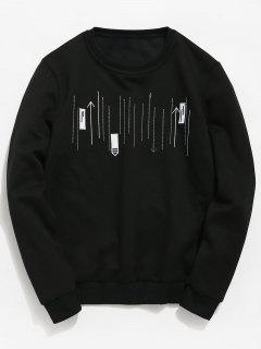 Embroidery Arrowhead Casual Sweatshirt - Black Xs