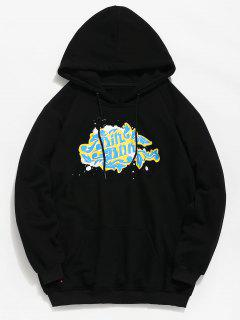 Chest Letter Print Pocket Hoodie - Black 2xl