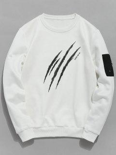 Claws Mark Print Pullover Sweatshirt - White L