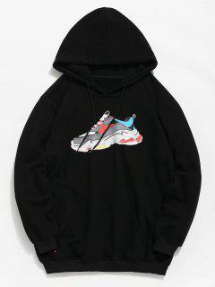 Letter Sneaker Print Pocket Hoodie - Black M
