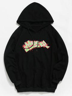 Kangaroo Pocket Graphic Hoodie - Black L