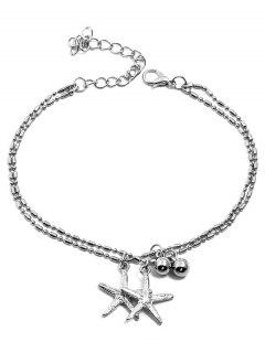 Starfishes Shaped Pendant Layered Beach Anklet Chain - Silver