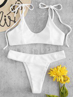 Geripptes Riemchen Schulter Bikini-Set - Weiß L