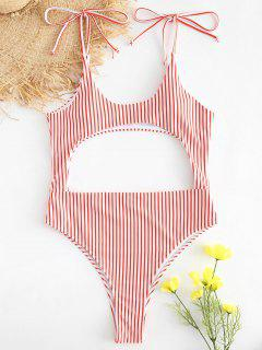 Striped Cutout Tie Shoulder Swimsuit - Red L
