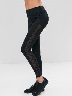 Mesh Panel Criss Cross Sports Leggings - Black M