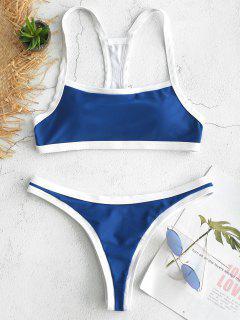 Contrast Trim Racerback Bikini Set - Blue Dress S