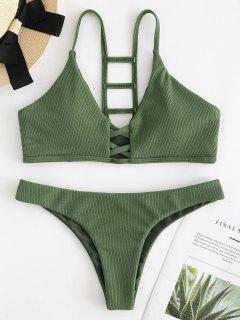 Ladder Cutout Ribbed Bikini Set - Army Green L