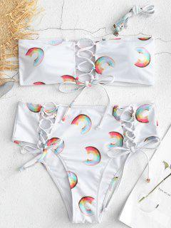 Bikini Donut Imprimé à Taille Haute à Lacets - Blanc S