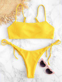 Ensemble De Bikini Camisole Côtelé - Jaune M