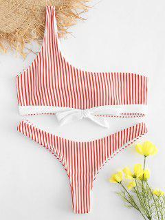 Ensemble De Bikini Rayé Avec Nœud Papillon à Une Epaule - Rouge M